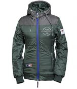 "OS-WOMEN HOODED WINTER JACKET ""HEATHER"" bottlegreen 