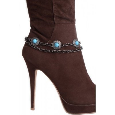 TURQUOISE STONE STUDDED BOOT CHAIN